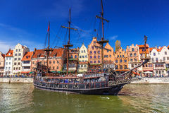 Pirate ship at the Motlawa river in Gdansk Royalty Free Stock Photos