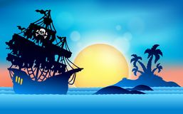 Pirate ship near small island 1 Royalty Free Stock Images