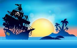Pirate ship near small island 1 vector illustration