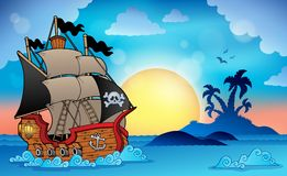 Pirate ship near small island 3 Stock Photos