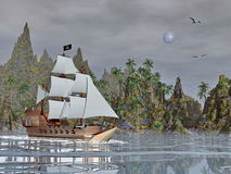 Pirate ship by night - 3D render Royalty Free Stock Images