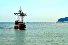 Pirate ship at the open sea royalty free stock images