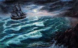 Pirate ship. Original oil painting showing pirate ship   in  stormy ocean or sea on canvas. Modern Impressionism, modernism,marinism Stock Photos