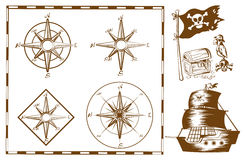 Pirate ship and other symbols Stock Photos