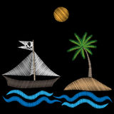 Pirate ship with palm tree embroidery stitches imitation on black Stock Photos