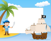 Pirate and Ship Photo Frame stock illustration