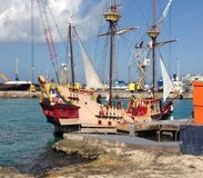 Pirate ship. Pirate tourist ship in Cayman Islands Royalty Free Stock Photo