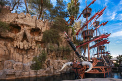 Pirate ship at pond near Treasure Island hotel Stock Images