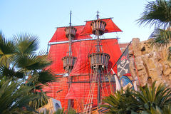 Pirate ship at pond near Treasure Island hotel  in Las Vegas Royalty Free Stock Photo