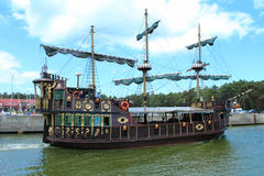 Pirate ship in the port. Stock Images