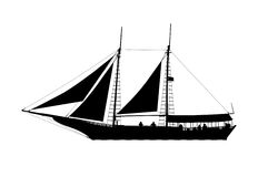 Pirate ship profile view silhouette Royalty Free Stock Images