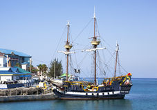 Pirate Ship. The replica of a pirate ship docked in George Town, Grand Cayman (Cayman Islands stock photography