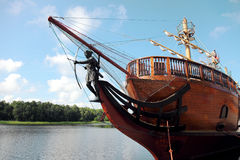 Pirate ship sailing. Old pirate ship or sailing vessel Royalty Free Stock Photography