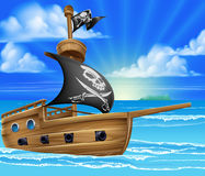 Pirate Ship Sailing. A cartoon pirate ship boat sailing in the ocean with jolly roger skull and crossed bones flag Royalty Free Stock Photos