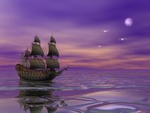 Pirate ship sailing in the moonlight. Flying Dutchman, pirate ship sailing in the moonlight next to bird in violet byckground Stock Photos