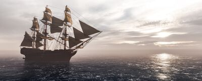 Free Pirate Ship Sailing On The Ocean. Stock Photography - 208284342