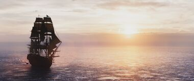 Free Pirate Ship Sailing On The Ocean At Sunset. Royalty Free Stock Image - 208284276