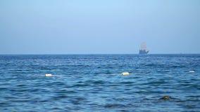 Pirate ship sailing in sea stock video