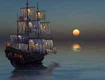 Pirate Ship Sailing into the Sunset. A pirate ship sailing into sunset on a calm sea, 3d render painting royalty free illustration