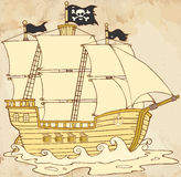 Pirate Ship Sailing Under Jolly Roger Flag In Old Paper Royalty Free Stock Photos