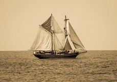 Pirate ship. Ship sailing in water Royalty Free Stock Images