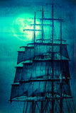 Pirate ship sails and the Moon Royalty Free Stock Images
