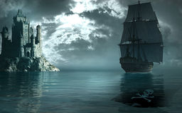 Pirate ship. Scene with pirate ship sailing by the castle stock illustration