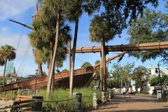Pirate ship by scenic stroll at Disney resort Royalty Free Stock Photo