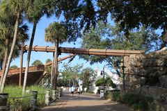 Pirate ship by scenic stroll at Disney resort Stock Photos