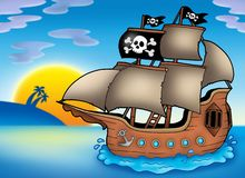 Pirate ship on sea Royalty Free Stock Image