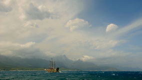 Pirate ship on the sea stock video