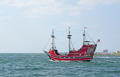 Pirate ship at sea Stock Photography