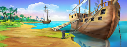 Pirate ship on the shore of the Pirate Island. Panorama view. Stock Image