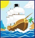 Pirate Ship on the Shore (Square frame) stock illustration