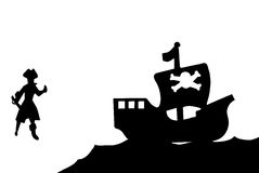 Pirate and Ship Silhouette. A peg legged pirate carrying a sword and his ship royalty free illustration