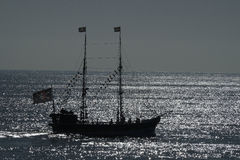 Pirate ship in silhouette. Royalty Free Stock Photos