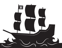 Pirate Ship Silhouette Stock Photos