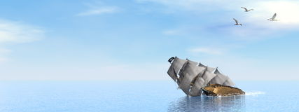 Pirate Ship sinking - 3D render. Beautiful detailed Pirate Ship sinking on the ocean surrounded with seagulls by day - 3D render Royalty Free Stock Images