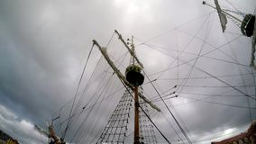Pirate ship in a storm in a port. Of the Baltic sea stock video footage