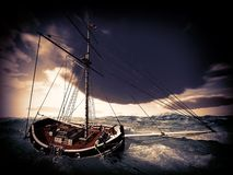 Pirate ship on stormy weather Stock Photos