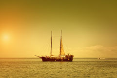 The Pirate Ship. On a Summer Dusk Stock Image