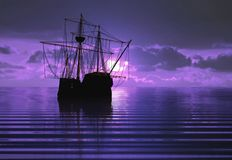 Pirate ship and sunset Stock Photos