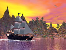 Pirate ship by sunset - 3D render. Pirate ship next to the coat by colorful sunset with seagulls Stock Photo