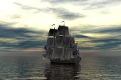 Pirate ship in sunset scene. 3D illustration stock illustration