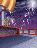 On the pirate ship and thunderbolt sky background. royalty free illustration