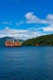 Pirate ship and Torii gate on Ashi lake Stock Photography