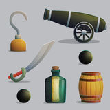 Pirate ship travel items and weapons Stock Image