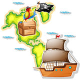 Pirate ship and treasure chest on map Stock Photo