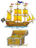 Pirate ship and treasures chest Royalty Free Stock Photography