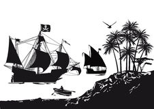 Pirate ship beside tropical island Stock Images